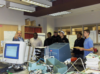Students visiting the Paper Analysis lab